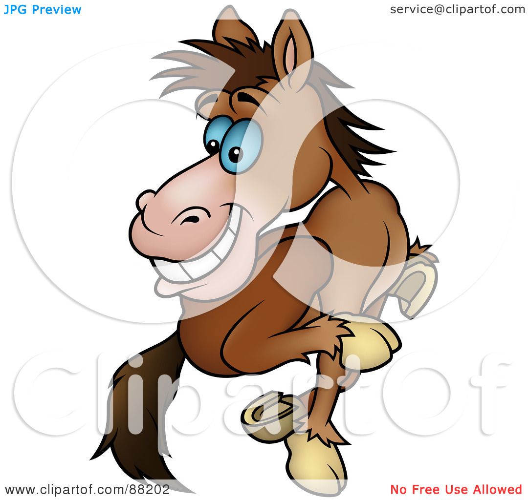 Rf  Clipart Illustration Of A Running Brown Horse Looking Back By Dero