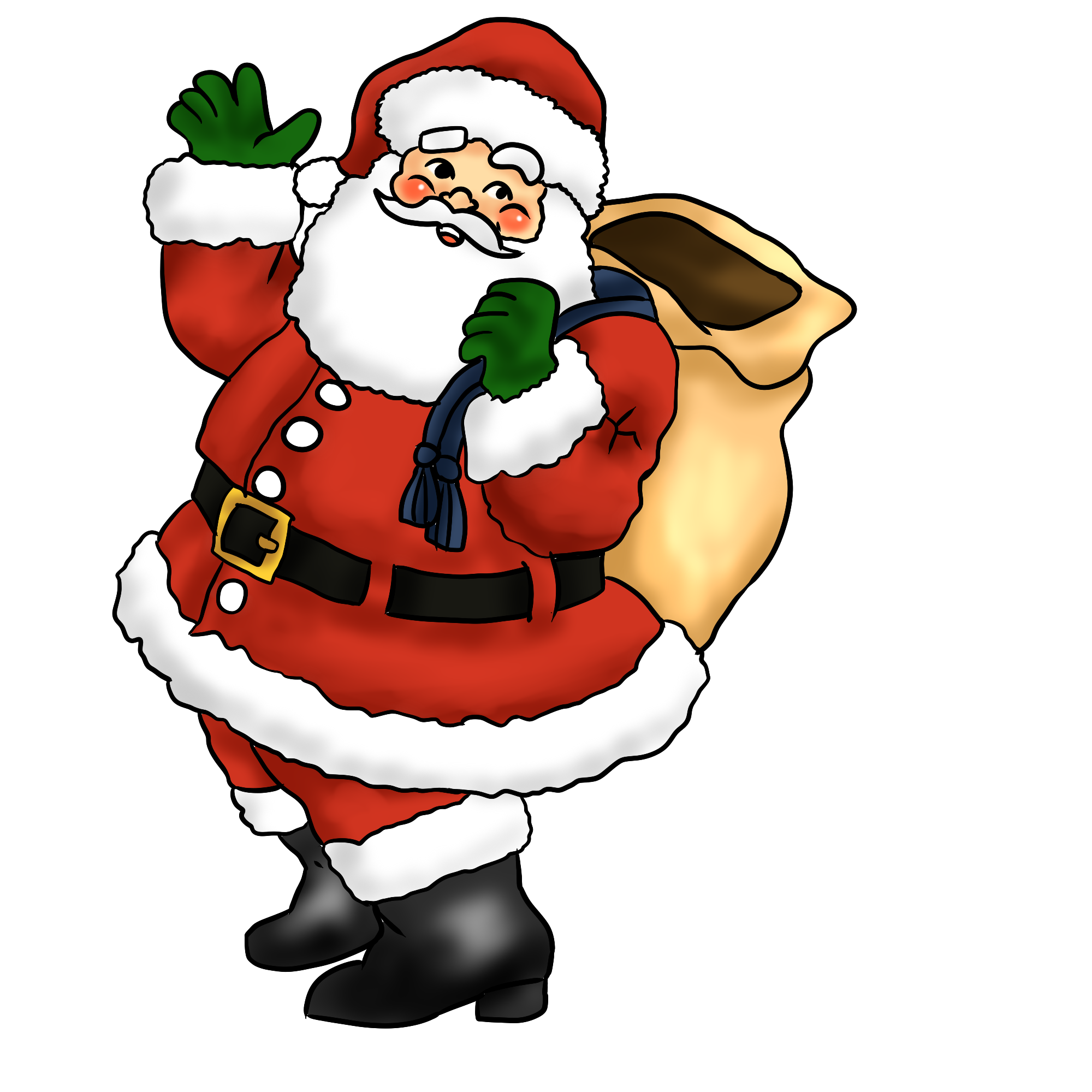 Christmas Santa And Reindeer Clipart - Clipart Suggest