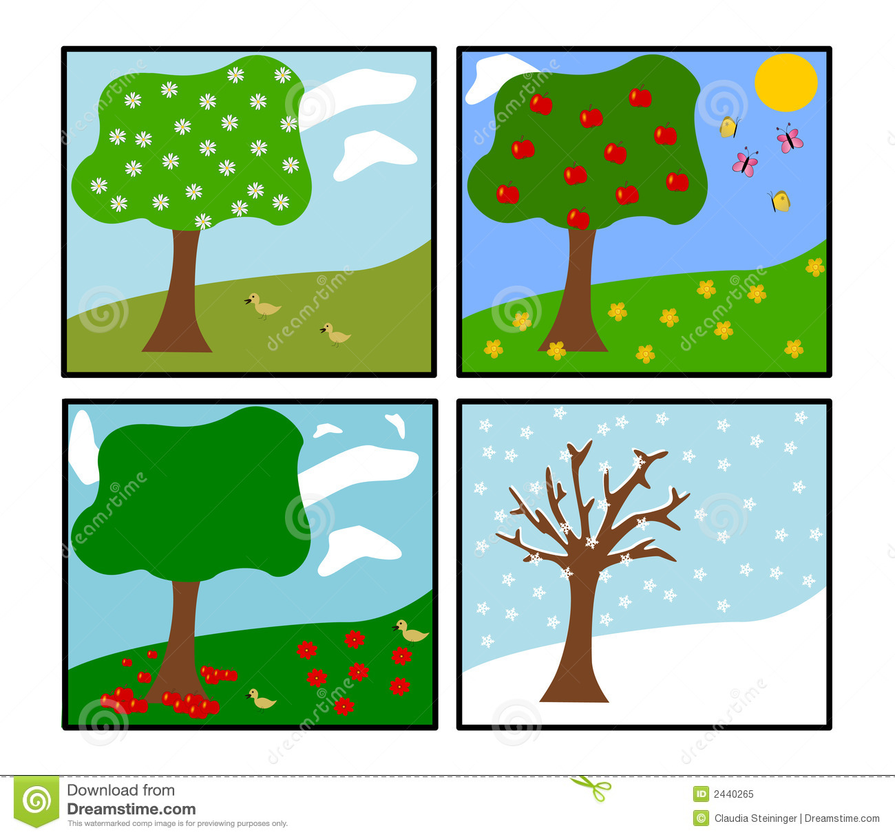 Seasons Clipart Four Seasons  Vector  Royalty