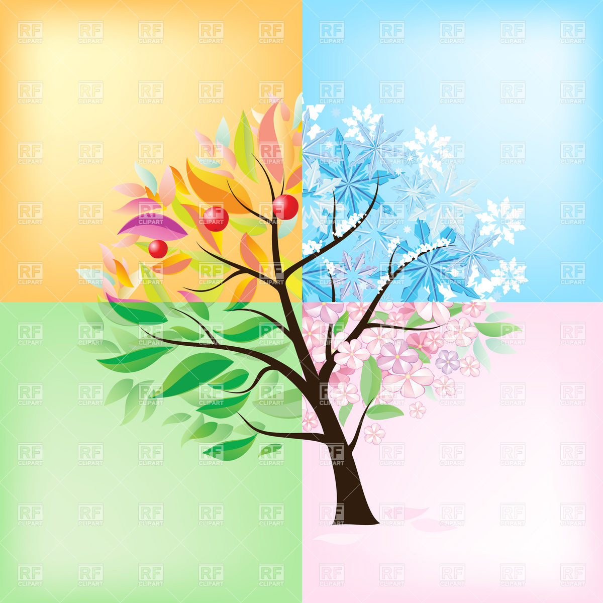 Stylized Four Seasons Tree Download Royalty Free Vector Clipart  Eps