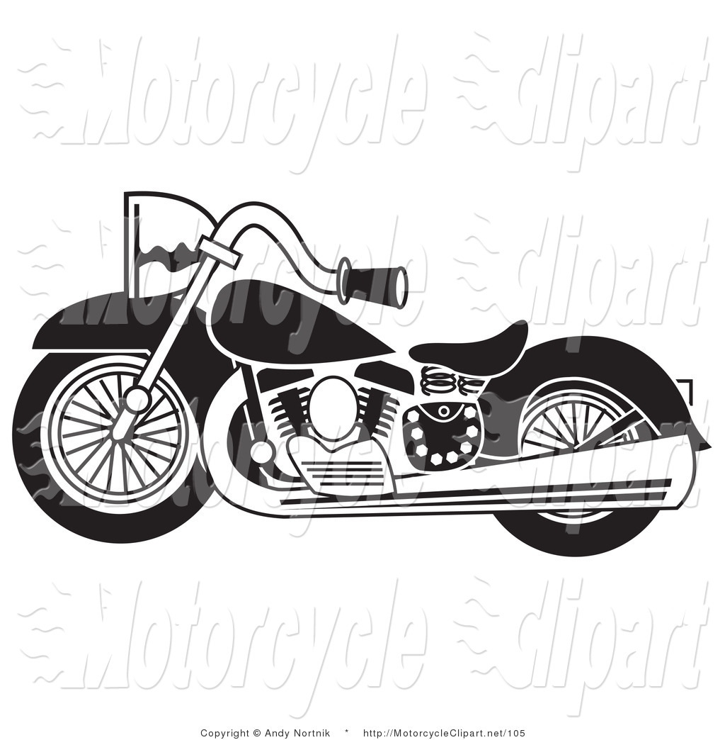 Transportation Clipart Of A Black And White Bike By Andy Nortnik
