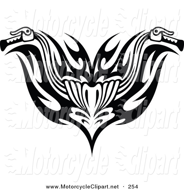 Transportation Clipart Of A Black And White Tribal Motorcycle
