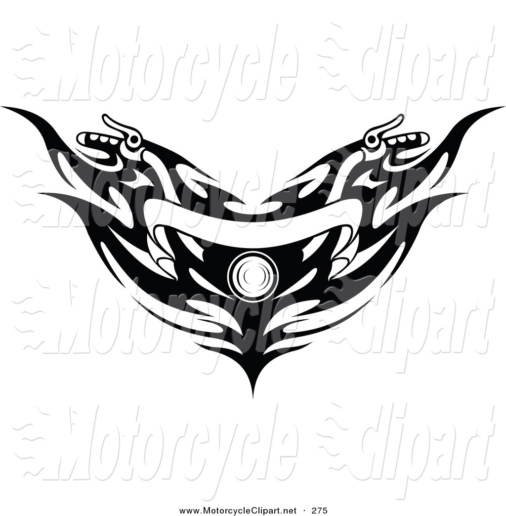Transportation Clipart Of Black And White Banner Motorcycle Handlebars
