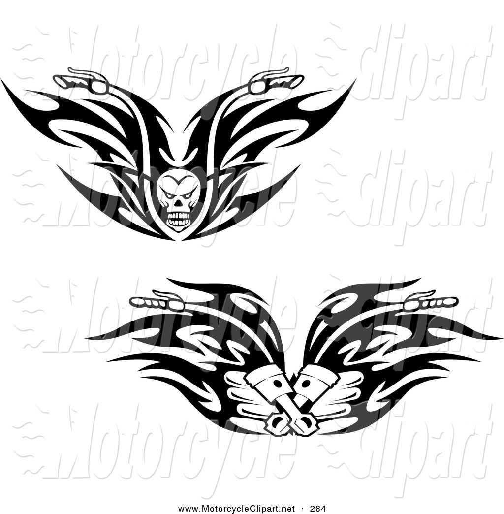 Transportation Clipart Of Black And White Skull And Piston Tribal
