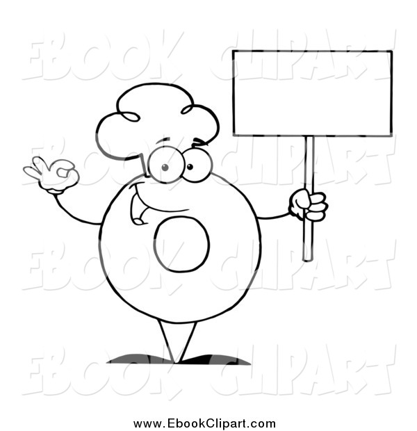 Vector Clip Art Of A Black And White Donut Chef Holding A Blank Sign
