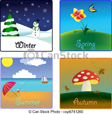 Vector Clipart Of The Four Seasons Csp6741260   Search Clip Art