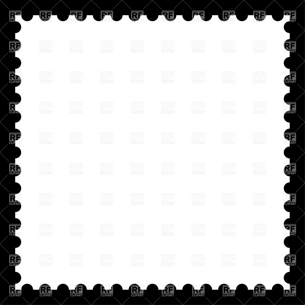 Postage Stamp Clip Art Black And White Stamp Blank Cli...