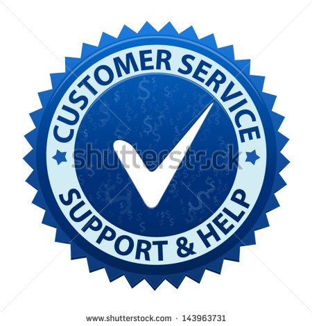 Blue Label Customer Service And Support Icon Or Symbol Isolated On
