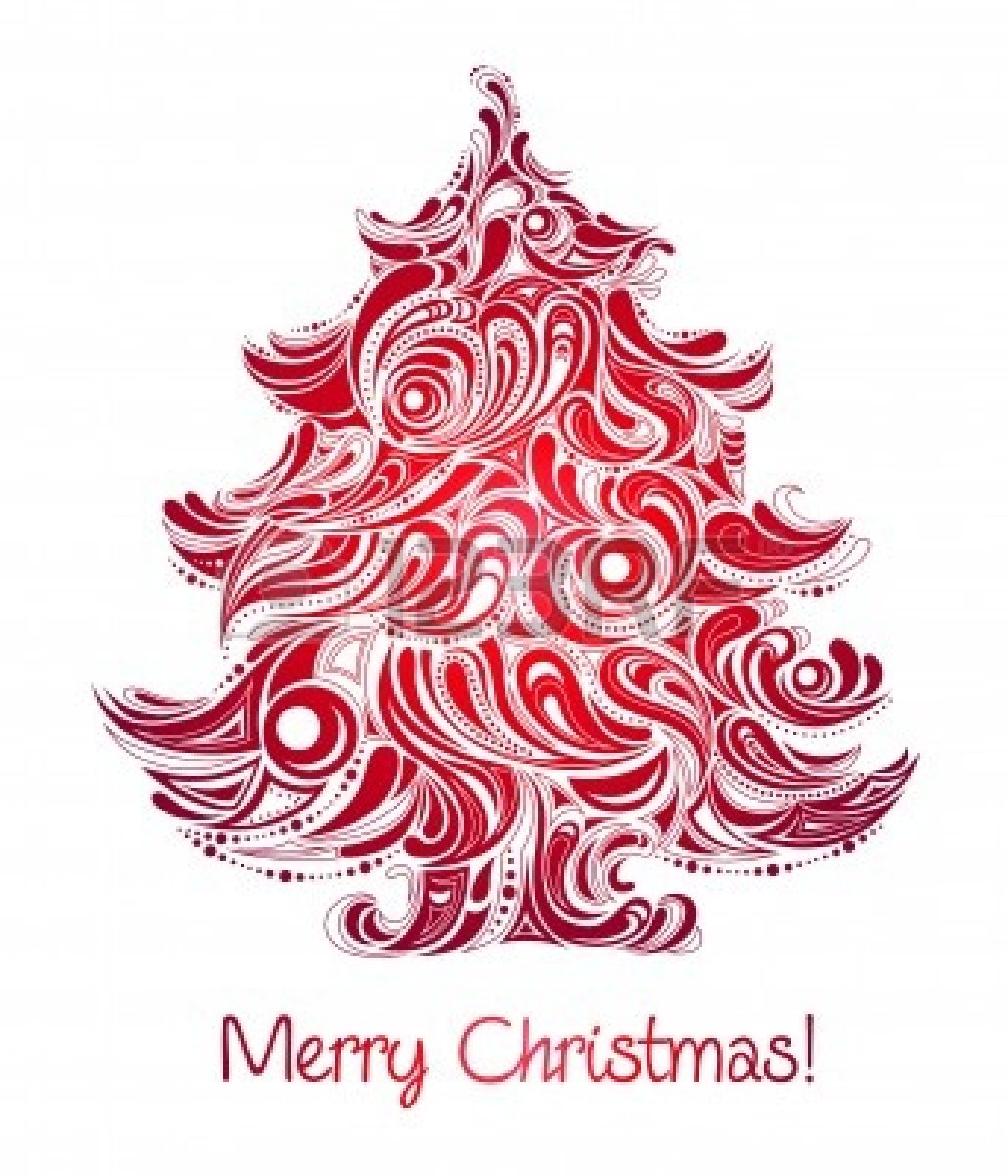 Christmas Tree Free Clipart Silhouette Red Christmas Tree Abstract