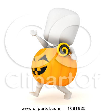 Clipart Of A Baby Girl Sitting In A Pumpkin Halloween Custume