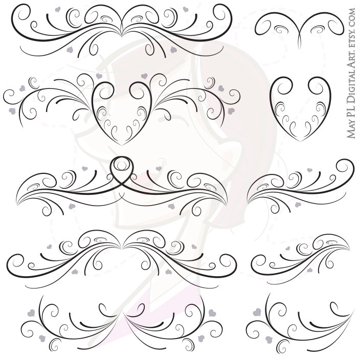 Digital Flourish Swirls Curly Borders With By Maypldigitalart