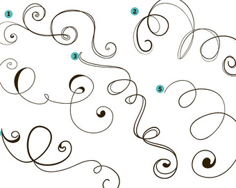 Flourish Clipart   Loopy Swirls Cli P Art  Pig Tails 2    Digital