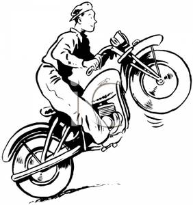 Riding A Motorcycle On It S Back Wheel   Royalty Free Clipart Picture