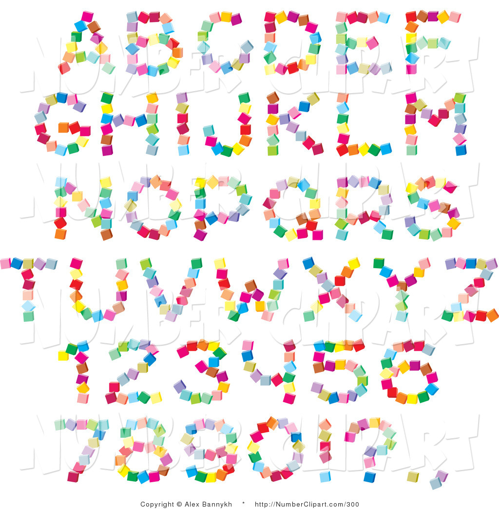 Set Of Colorful Alphabet Letters Numbers And Punctuation Made Of Dots