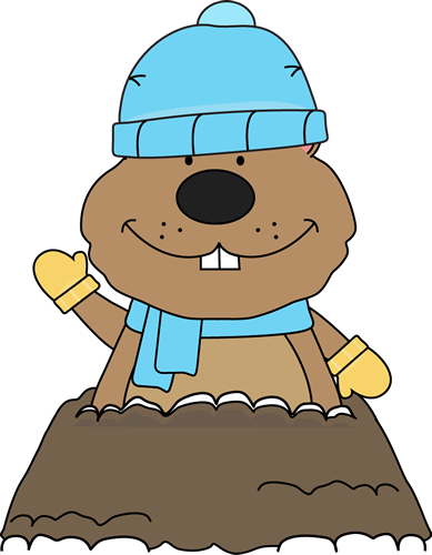 Winter Groundhog Clip Art   Groundhog Wearing A Winter Hat Scarf And