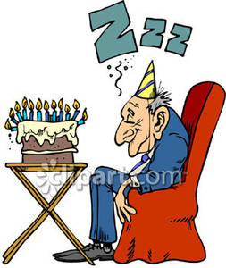 An Old Man Sleeping By His Birthday Cake   Royalty Free Clipart