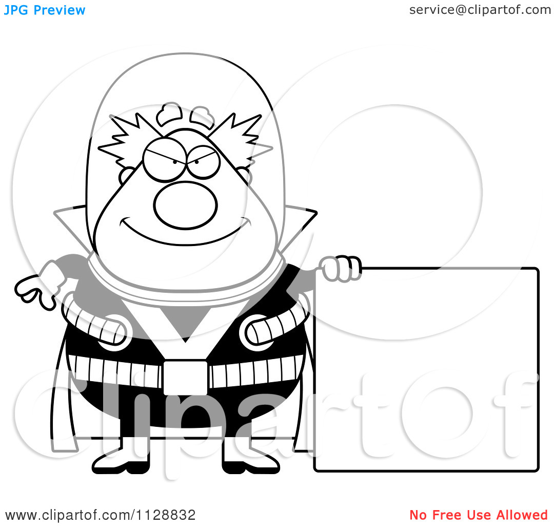Cartoon Clipart Of A Black And White Chubby Evil Poodle Vector   Black