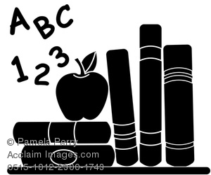 Clip Art Image Of School Books With An Apple For Teacher In Silhouette
