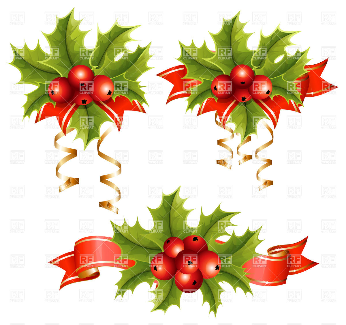 Free Christmas Holly Border Clip Art Holly With Berries Holiday