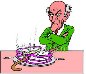 Man With His Cane In His Birthday Cake   Royalty Free Clipart Picture