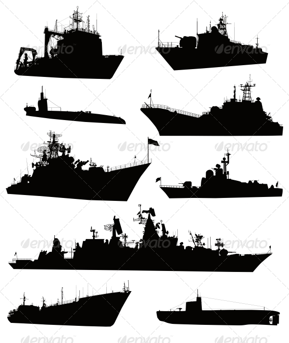 Navy Ship Silhouette Ship Silhouettes Set