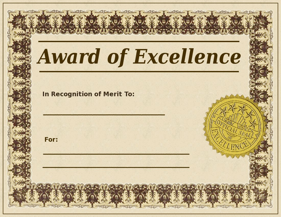 Search Terms  Award Excellence Certificate Clipart Document Gold