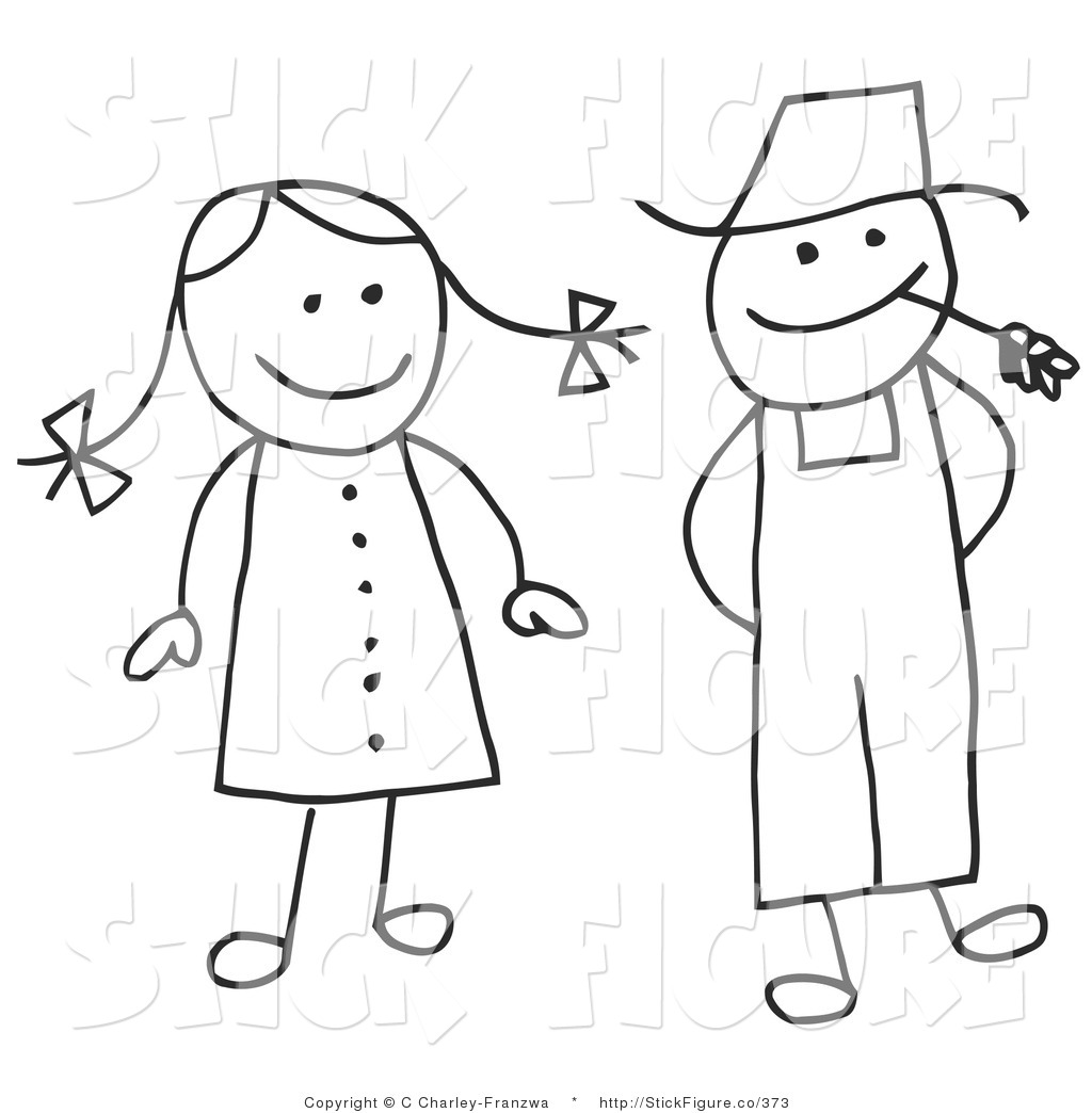 Art Of A Stick Figure Woman And Farmer Man By C Charley Franzwa    373