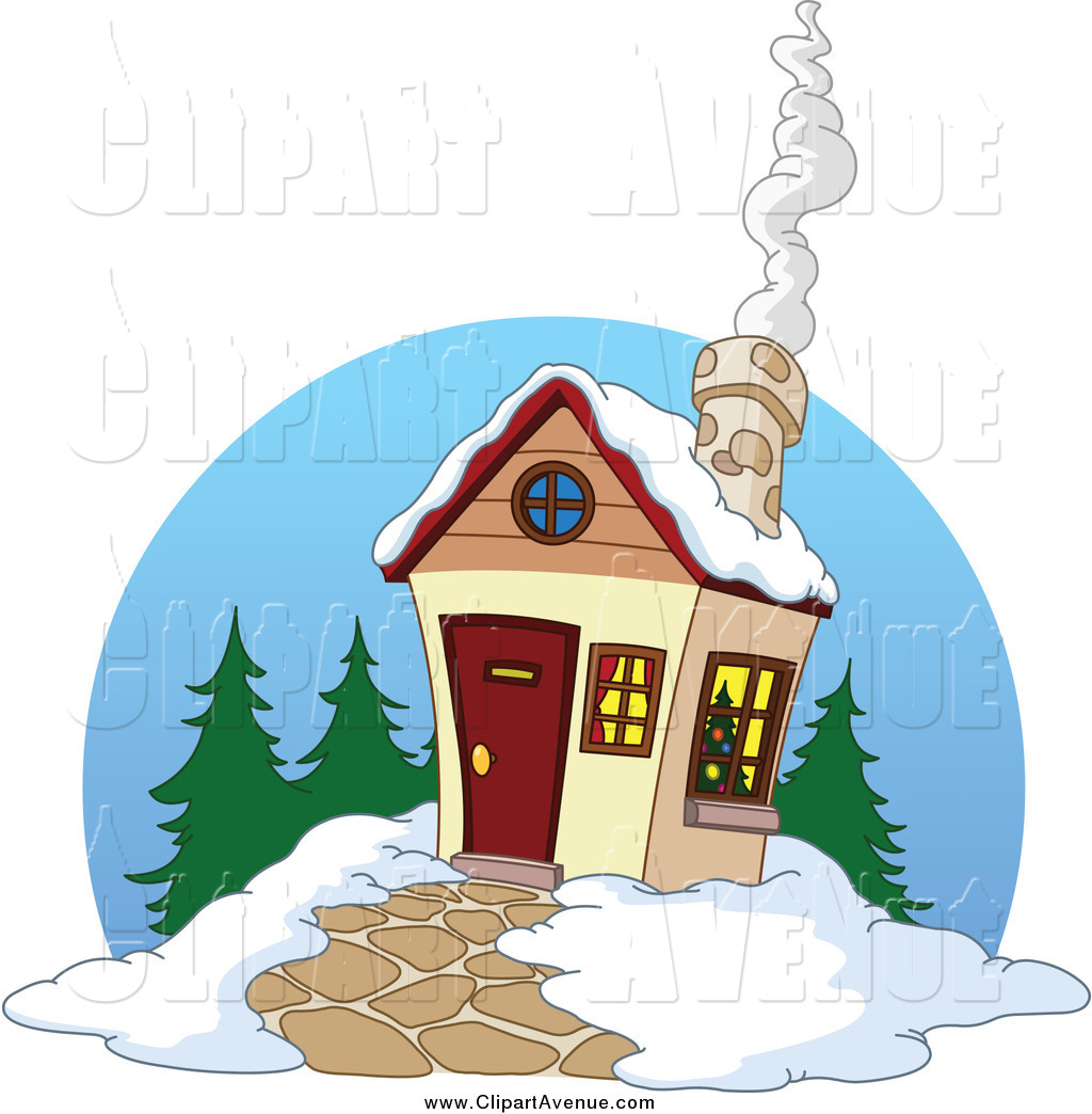 Avenue Clipart Of A Winter Cabin With Smoke Rising From The Chimney