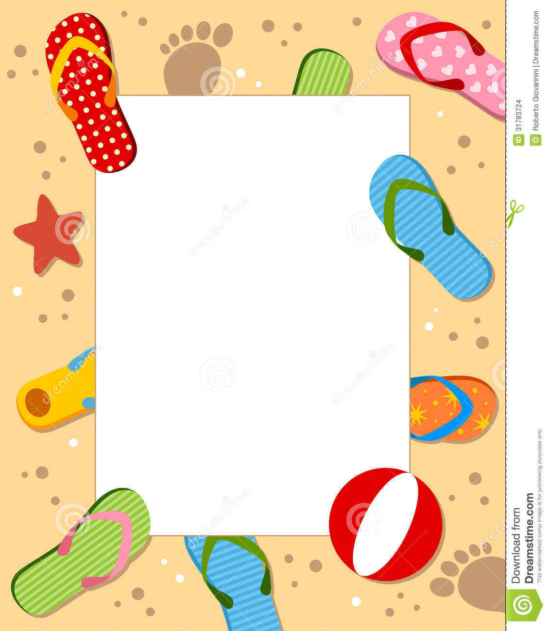 beach with colorful flip flops or beach sandals eps file available