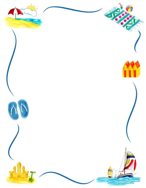 Border Clip Art Featuring Beach Graphics Such As Sandcastles Beach