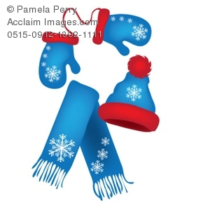 Clip Art Illustration Of Mittens A Scarf And A Hat