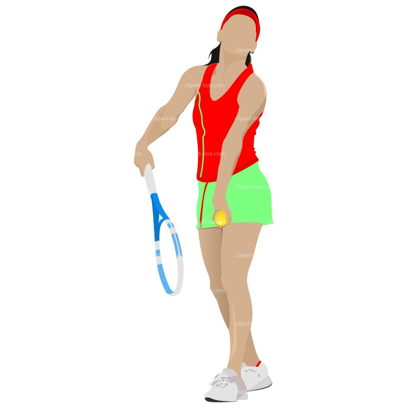 Clipart Girl Playing Tennis   Royalty Free Vector Design