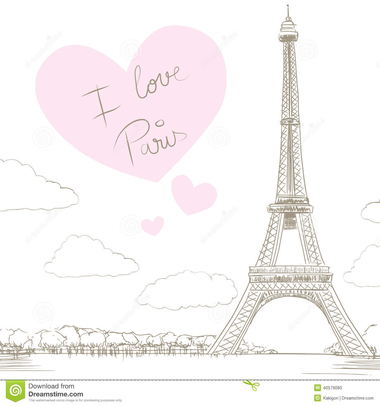 Eiffel Tower Background With Big Heart And Text Saying I Love Paris