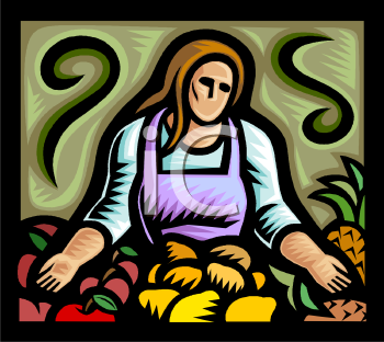 Farmer Woman With Produce   Royalty Free Clipart Image
