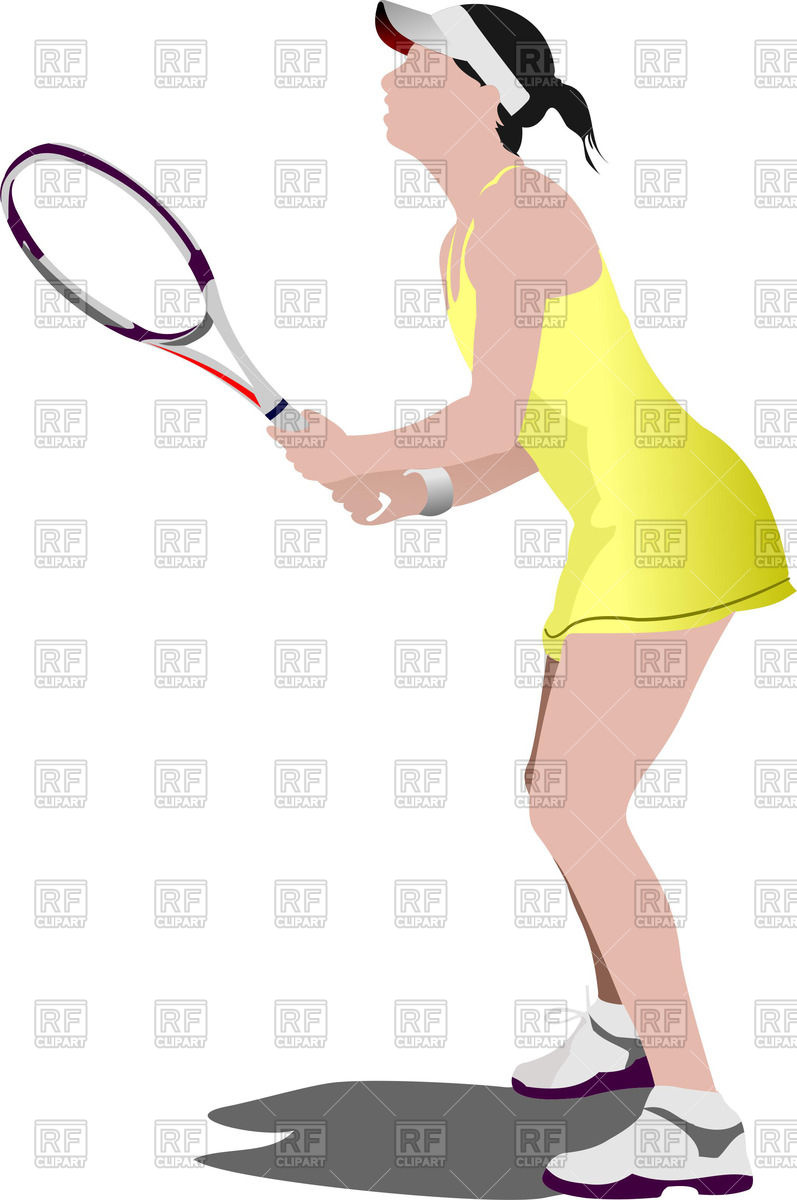 Female Tennis Player In Yellow Uniform 51606 Download Royalty Free