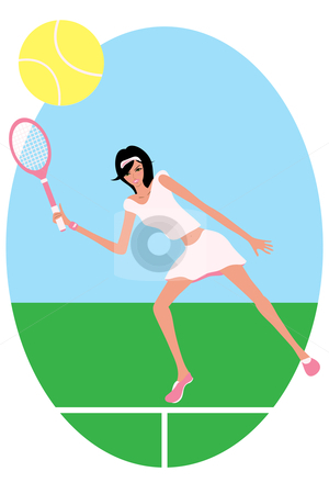 Female Tennis Player Stock Vector Clipart Vector Illustration Of A