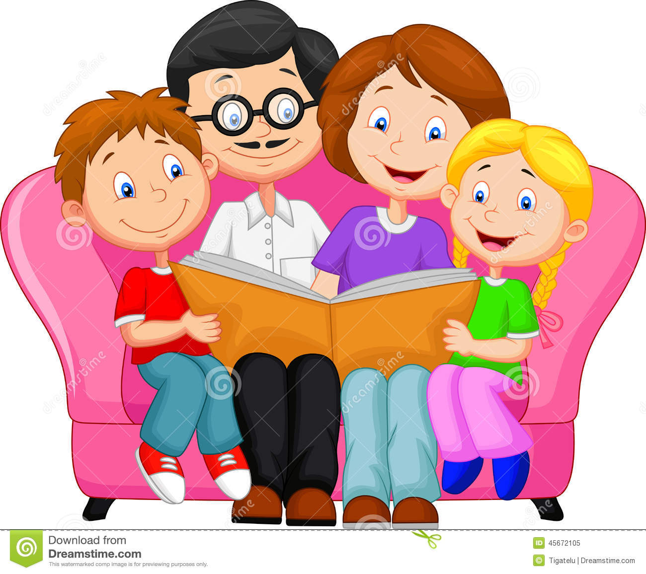 Happy Family Reading Book Stock Vector   Image  45672105