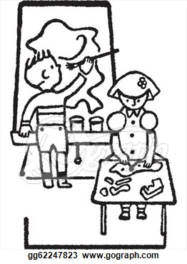 Homework Clipart Black And White Two Black And White Version Of A