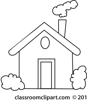 House With Chimney Smoke Outline Home Clipart Black And White