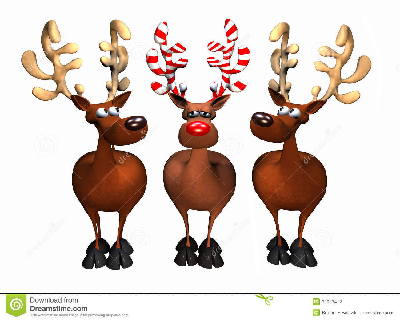 Illustration Depicting Three Reindeer One With Candy Cane Antlers