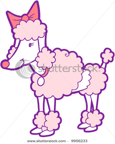 Of A Poodle With Pink Fur And A Pink Bow Standing In A Vector Clip Art