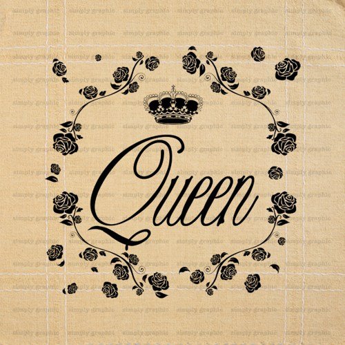 Queen Crown Rose Clipart Digital Collage Sheet Graphic Clipart B003