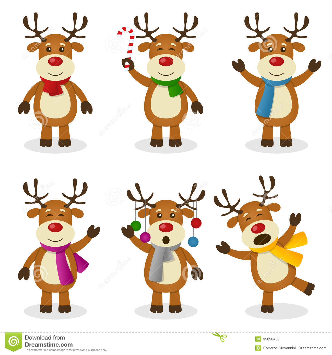 Reindeer Cartoon Christmas Set Royalty Free Stock Images   Image