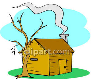 Smoke Coming From The Chimney Of A Small Cabin   Royalty Free Clipart
