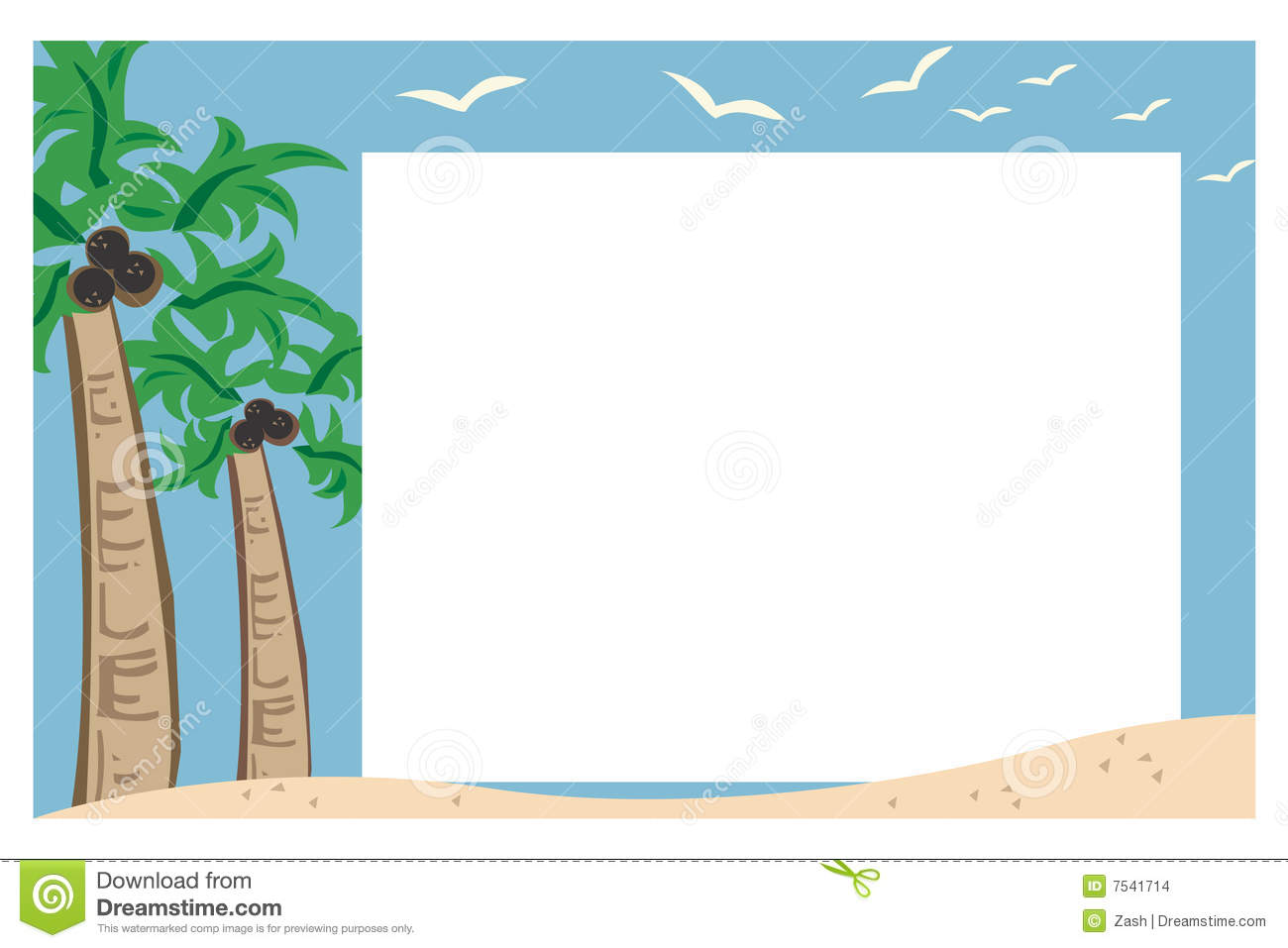 tropical beach illustration creating a border or frame around blank