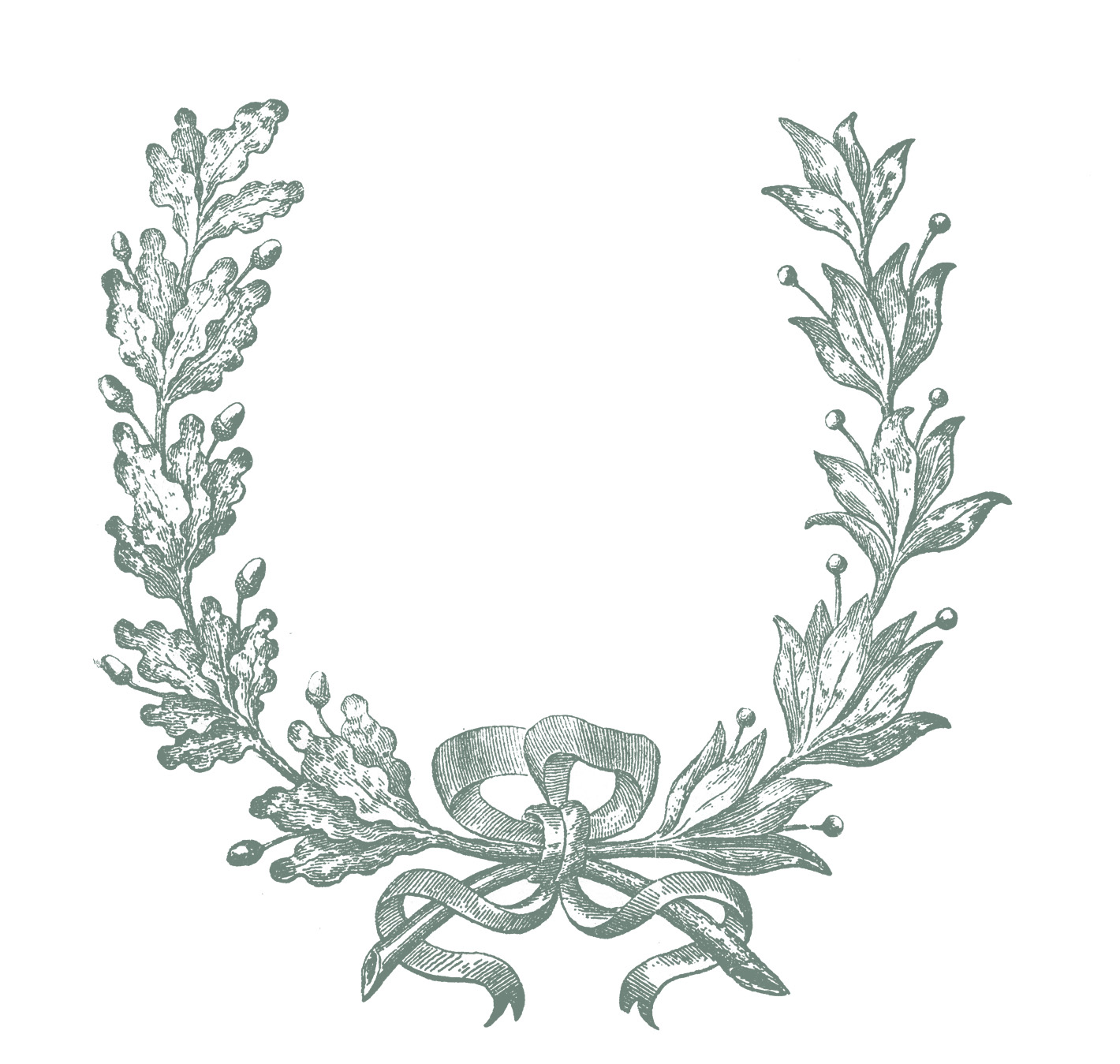Vintage Clip Art   French Wreath Engraving   The Graphics Fairy