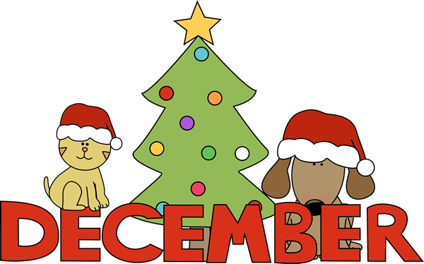2014 Happy December Clip Art Christmas Pets For Kids   Coloring Point