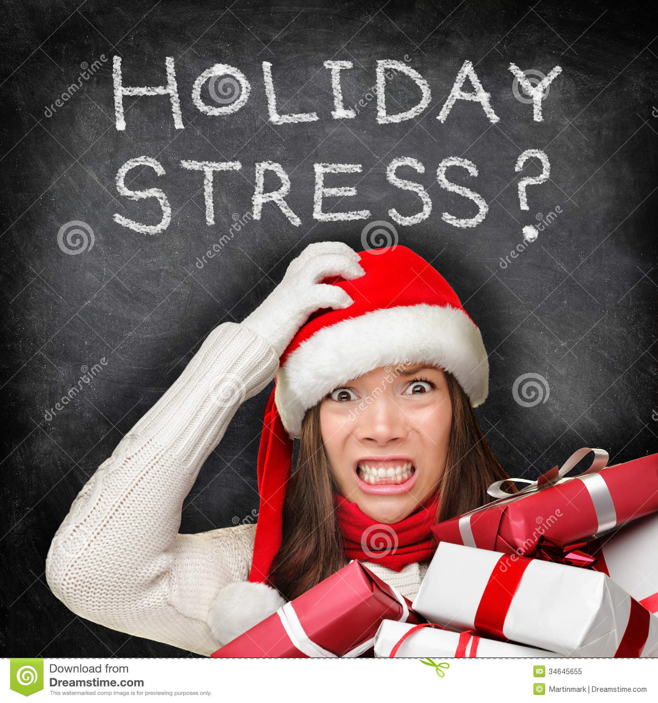 Christmas Holiday Stress   Stressed Shopping Gifts Royalty Free Stock