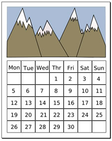 Clip Art Of Calendar Months   In Black And Blue Or Black And Red Clip