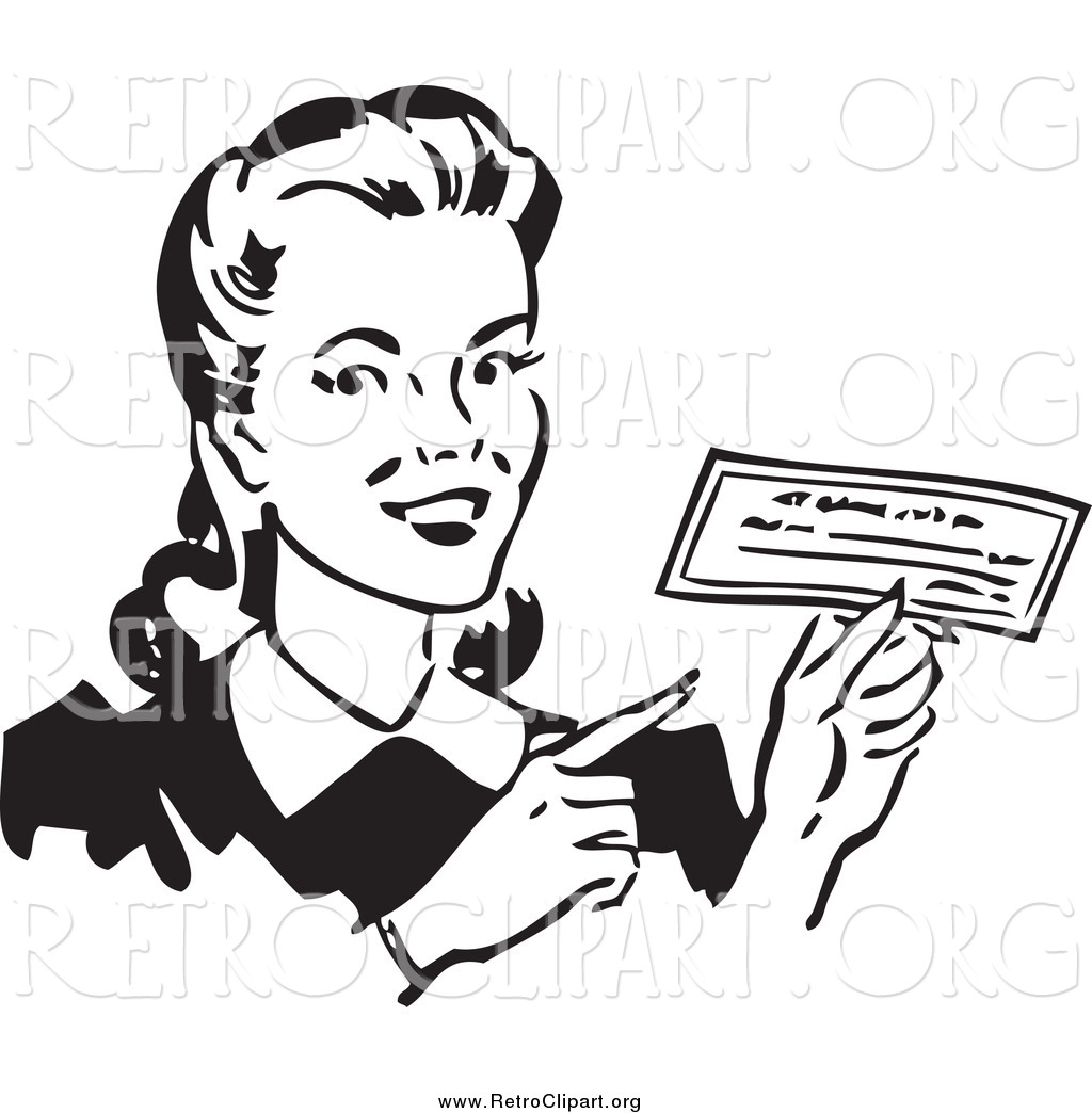 Clipart Of A Retro Black And White Happy Woman Holding A Check By